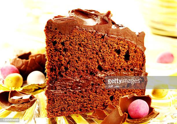 slice of chocolate cake - easter cake stock pictures, royalty-free photos & images