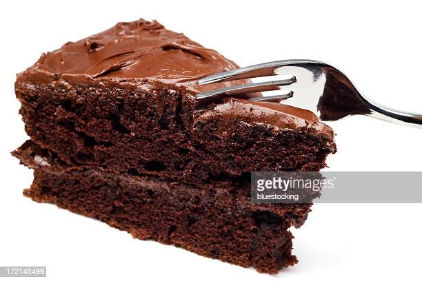 A slice of chocolate cake with a fork