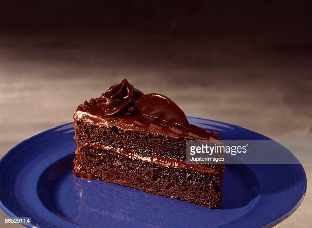 Slice of chocolate layer cake
