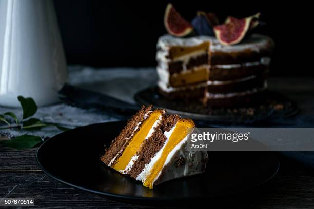 Slice of delicious cake on a plate