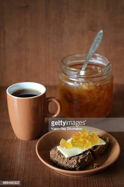 Slice of Gluten Free Bread with Butter & Watermelon Jam