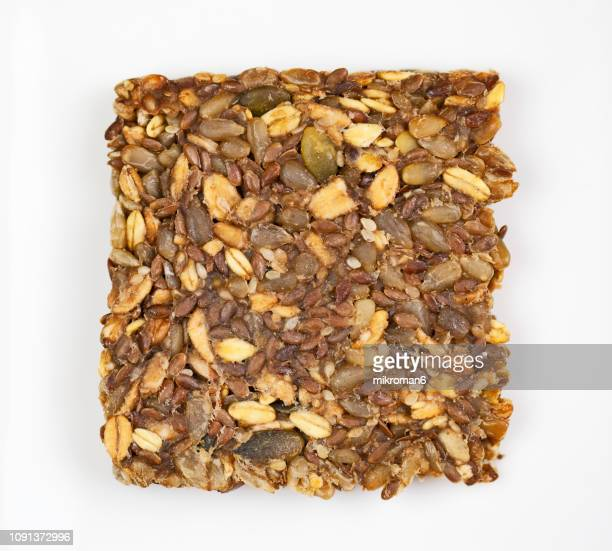 Slice of mixed seed and whole grains bread. Bread without flour