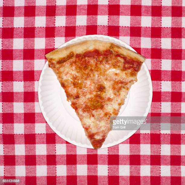 slice of pizza - paper plate stock photos and pictures