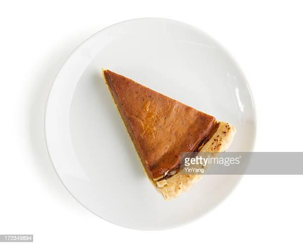 Slice of Pumpkin Pie, Cut Dessert Isolated on White Background