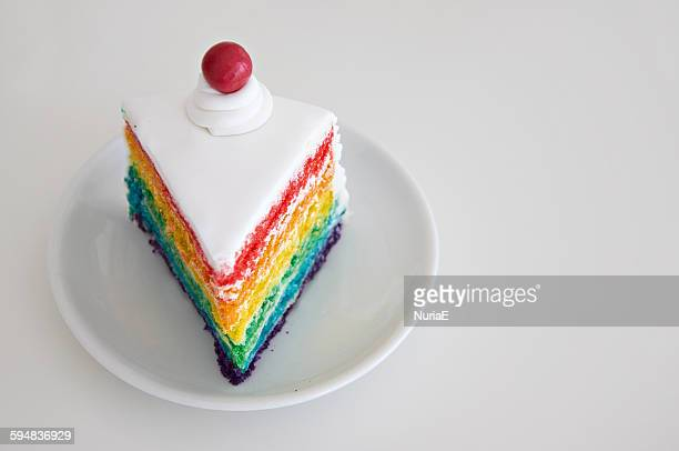 Slice of rainbow cake on a plate