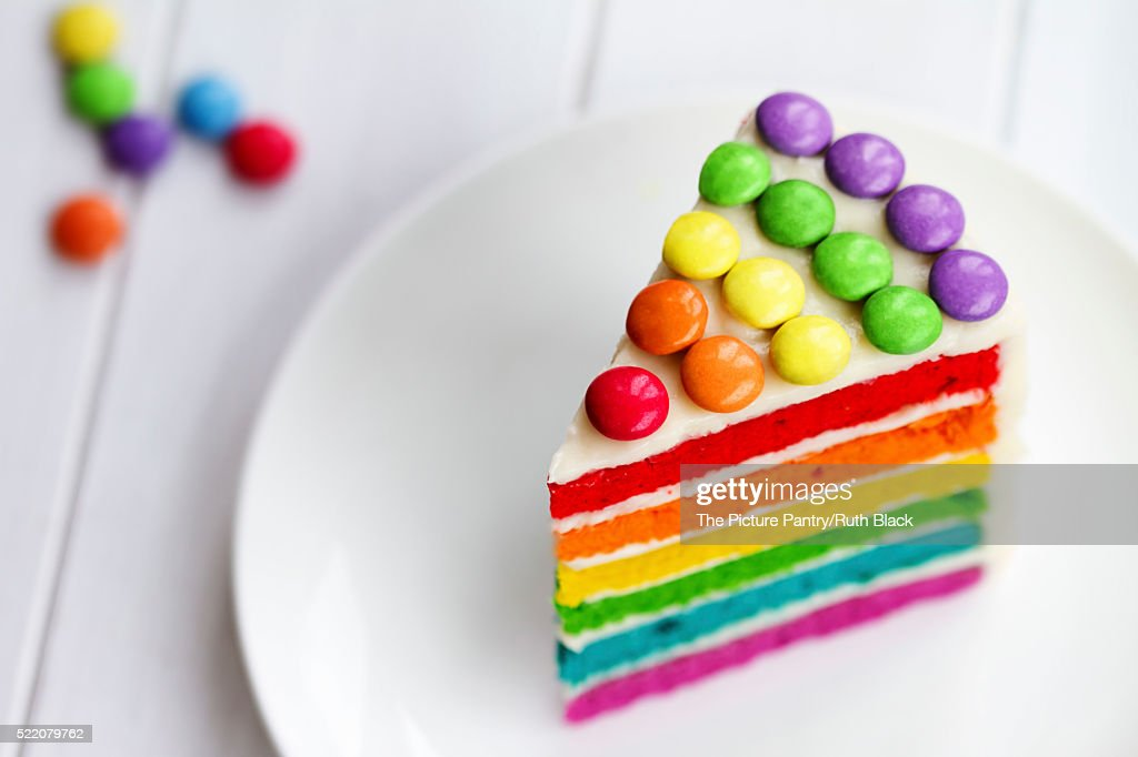 Slice Of Rainbow Cake Stock Photo Getty Images