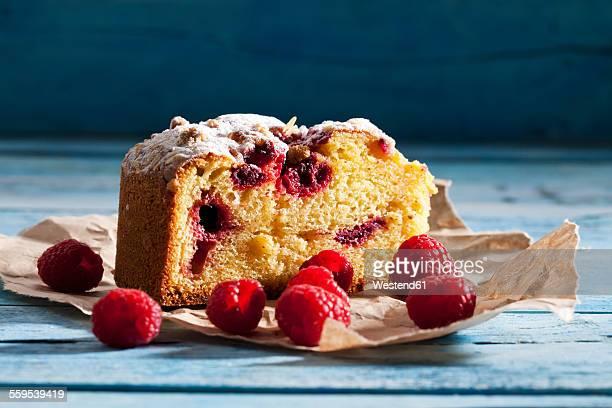 Slice of raspberry cake on paper