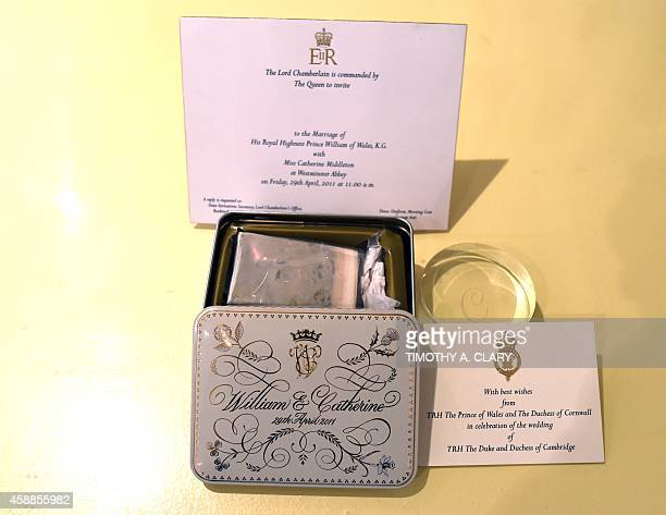 A slice of royal wedding cake from the marriage of Prince William and Kate Middleton in a presentation tin presented to guests and dignitaries at...