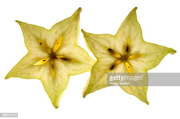Slice of starfruit on white background