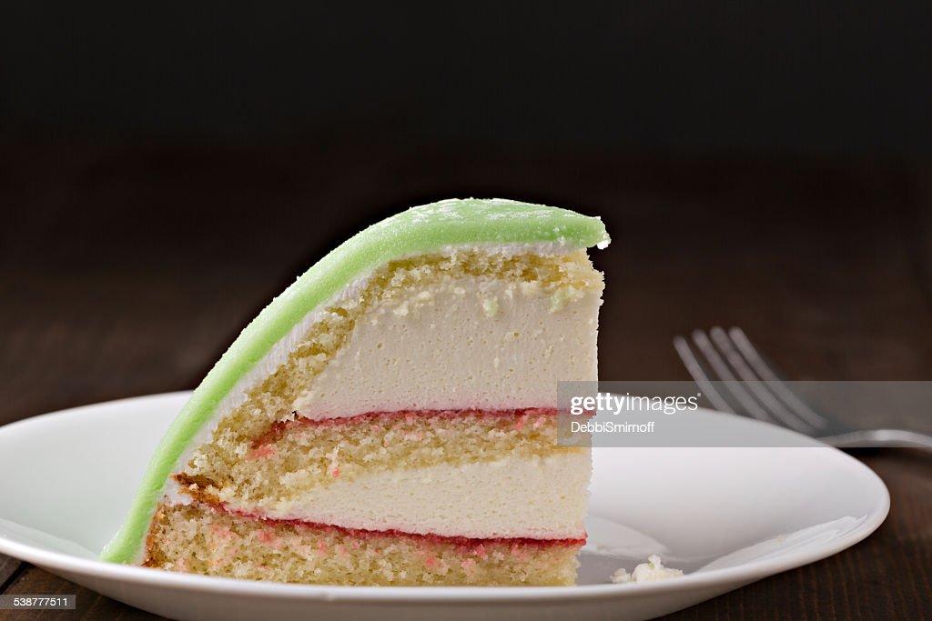 Slice Of Swedish Princess Cake : Stock Photo