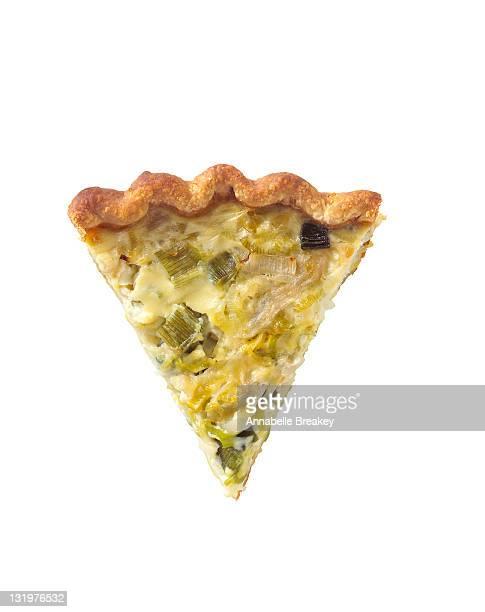 Slice of Three Onion Quiche Pie