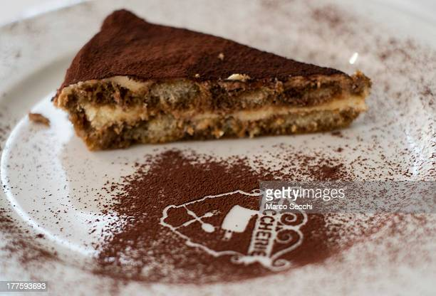 A slice of Tiramisu is seen at the Restaurant 'Alle Beccherie on August 24 2013 in Treviso Italy Treviso claims that Tiramisu was invented in the...