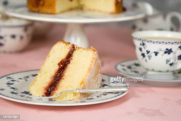 slice of victoria sandwich - sponge cake stock pictures, royalty-free photos & images