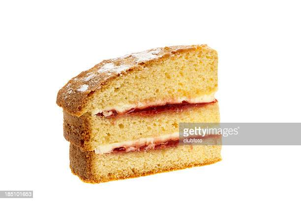 slice of victoria sponge cake - sponge cake stock pictures, royalty-free photos & images