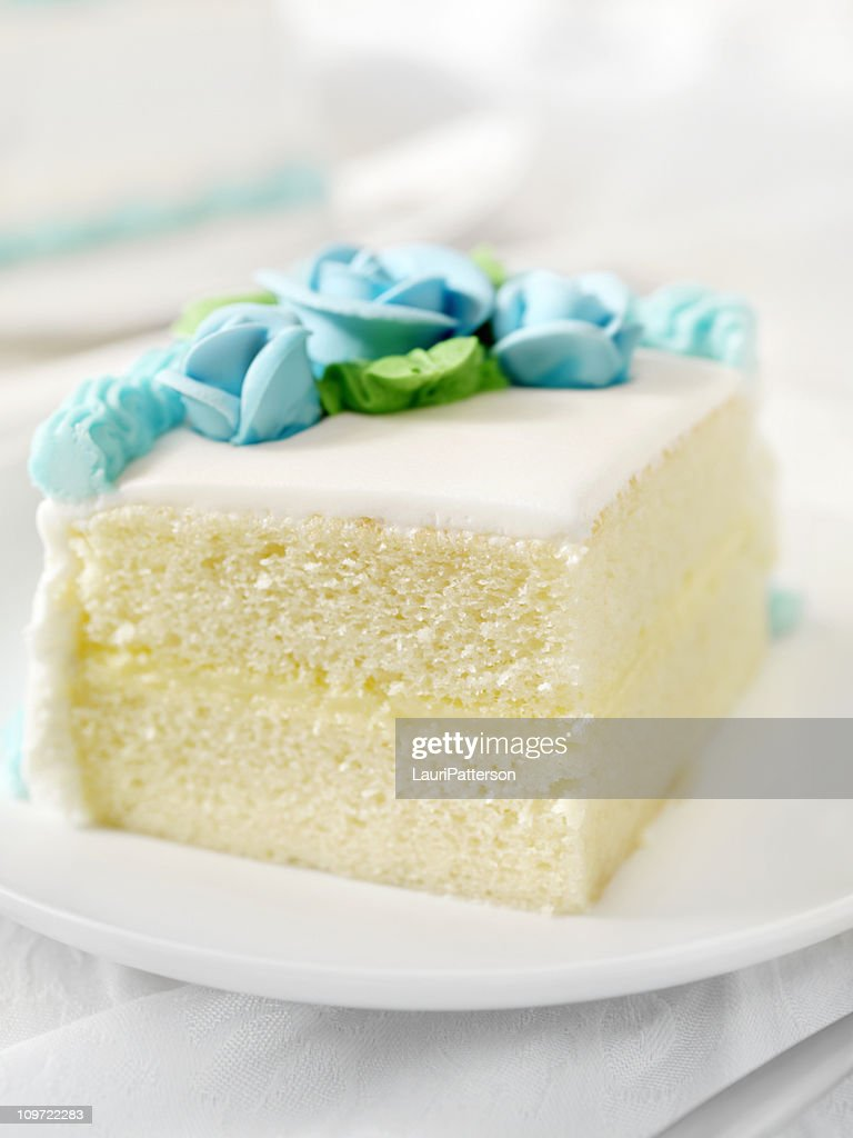 Slice of White Birthday Cake : Stock Photo