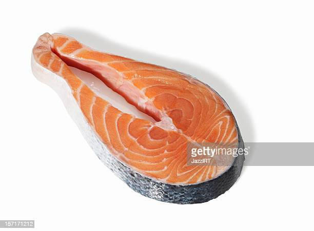 Slice raw salmon (isolated with clipping path over white background)