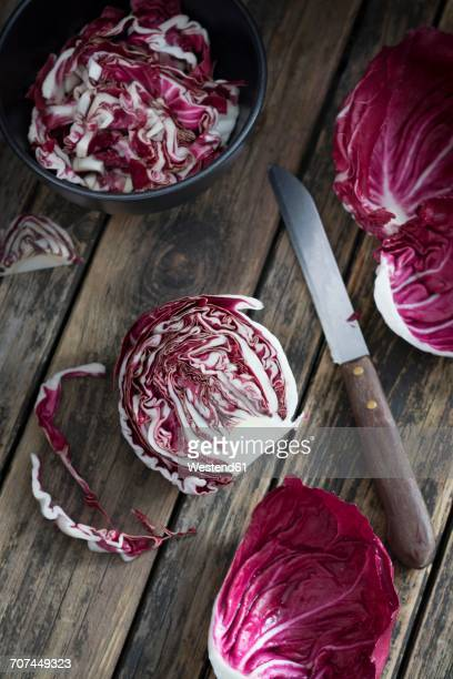Sliced and chopped radicchio on wood