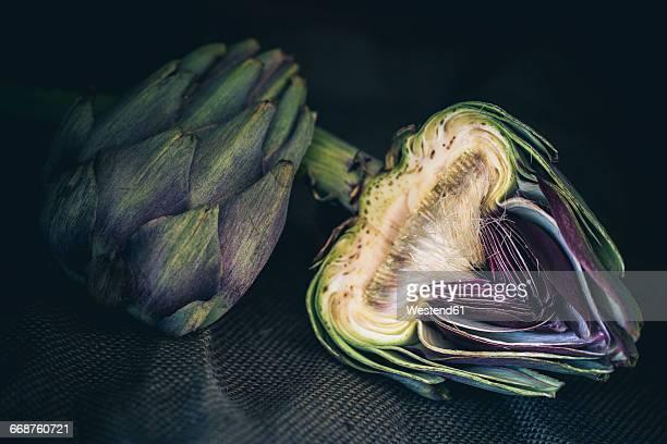 Sliced artichoke on cloth