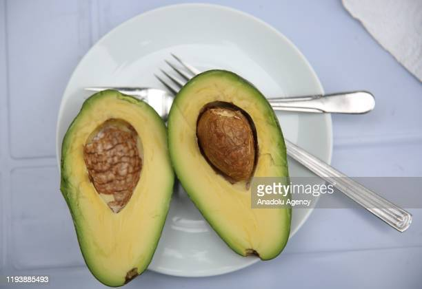 Sliced avocados sit in crates at an avocado farm in Antalya Turkey on January 15 2020