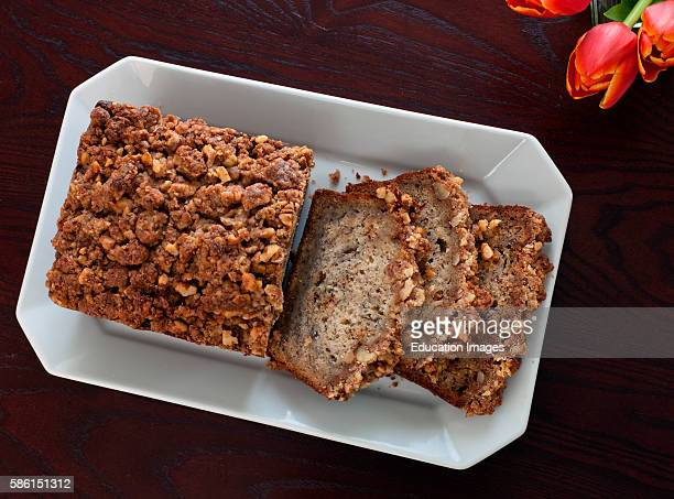 Sliced banana bread served on a white dish English Meadows Inn Kennebunk ME