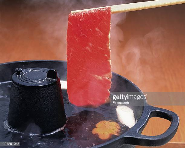 Sliced Beef Boiled with Vegetables, Close Up
