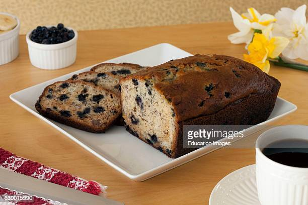 Sliced blueberry banana bread on serving tray Newcastle Inn Newcastle ME