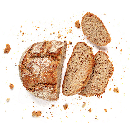 Sliced bread isolated on  white background. Fresh Bread slices close up. Bakery, food concept. Top view 1127296444