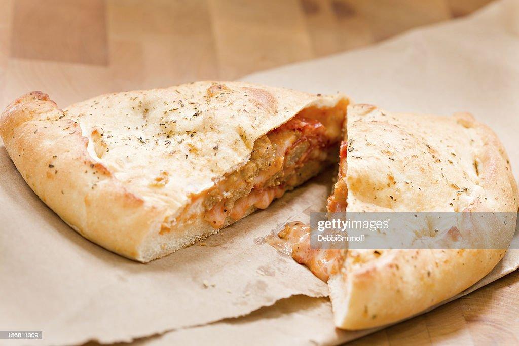 Sliced Calzone : Stock Photo
