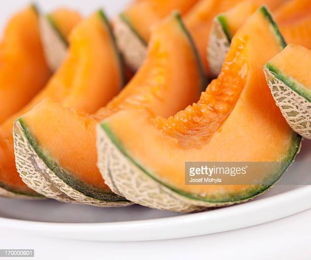 Sliced cantaloupe melons on a plate