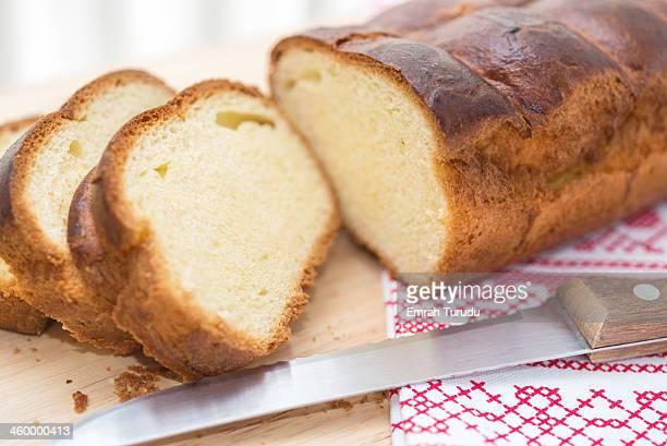 Sliced cheese brioche loaf bread, on napkin