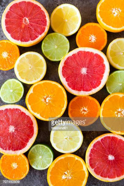 sliced citrus fruits - citrus fruit stock pictures, royalty-free photos & images