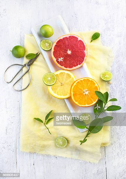 Sliced citrus fruits. Top view. Food styling. Top