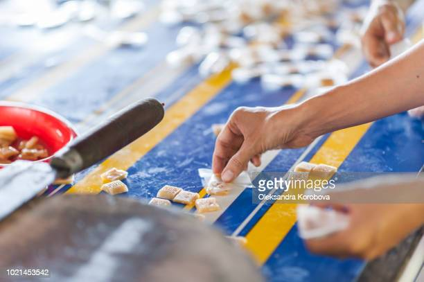 sliced coconut candy being wrapped by female workers. - candy factory stock pictures, royalty-free photos & images