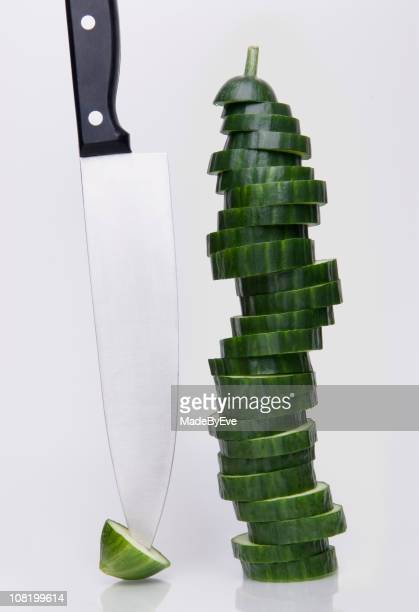 Sliced Cucumber & knife