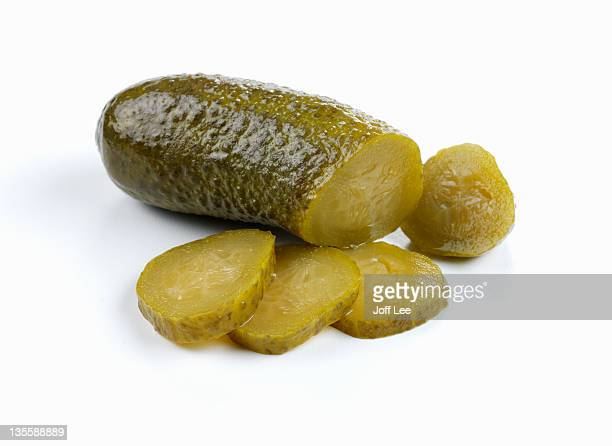 sliced gherkin - pickled stock pictures, royalty-free photos & images