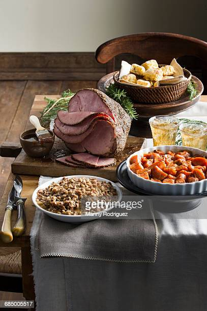 sliced ham on buffet table - black eyed peas food stock pictures, royalty-free photos & images