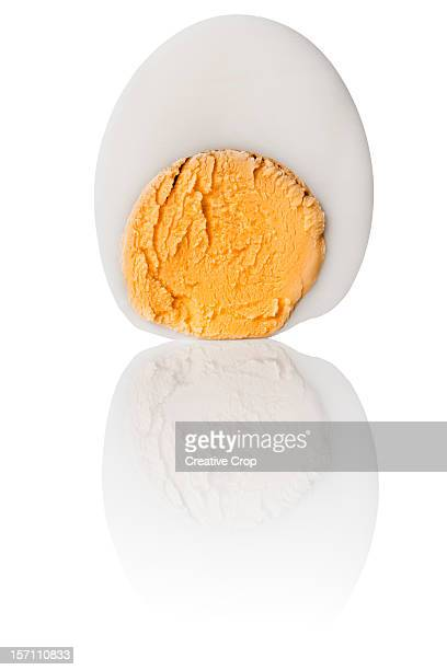 sliced hard boiled chickens egg - hard boiled eggs stock photos and pictures