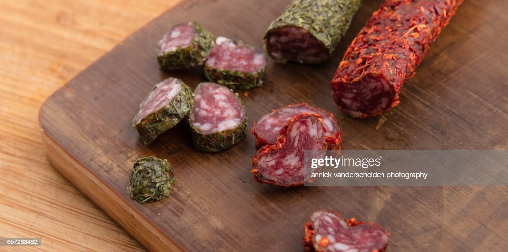 Sliced herbs fuet and sliced bell pepper fuet. : Stock Photo