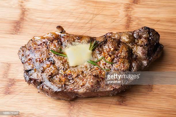 Sliced Kobe New York Steak on a Cutting Board