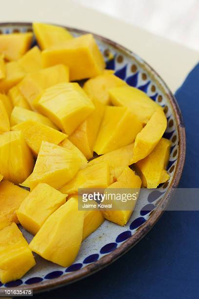 Sliced mango on a Mexican pottery plate