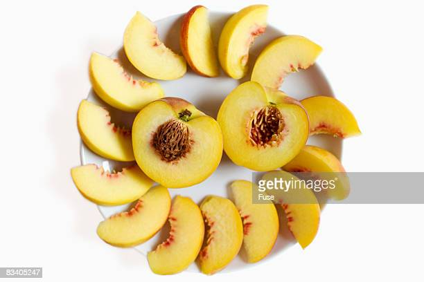 Sliced Peaches on Plate