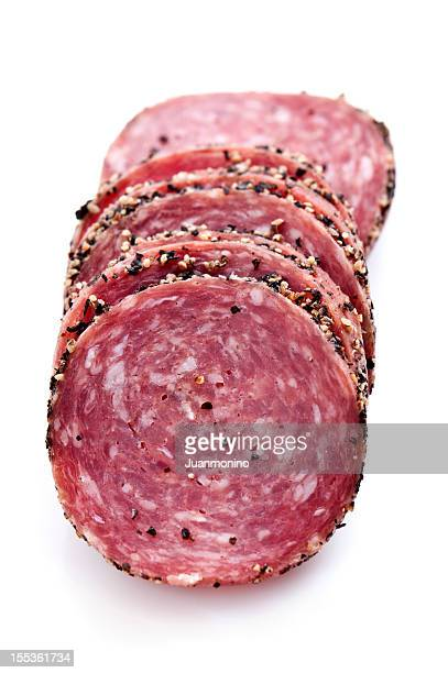 sliced peppered salami - pepperoni stock photos and pictures