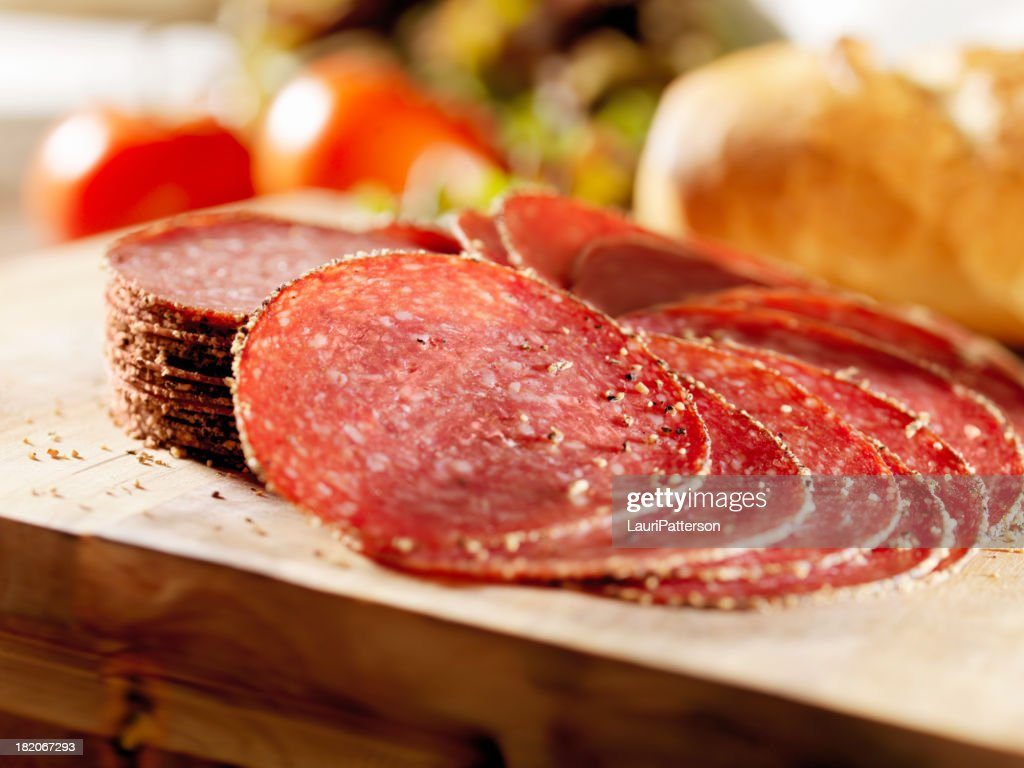 Sliced Peppered Salami : Stock Photo
