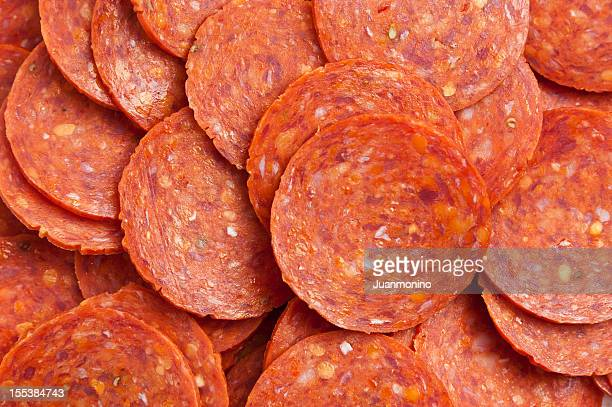 Sliced pepperoni background