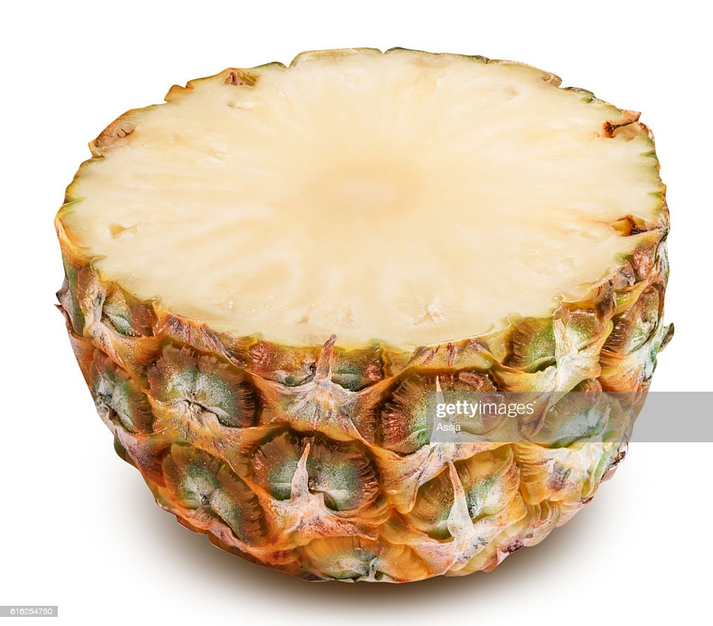 Sliced pineapple isolated on white background : Stock Photo