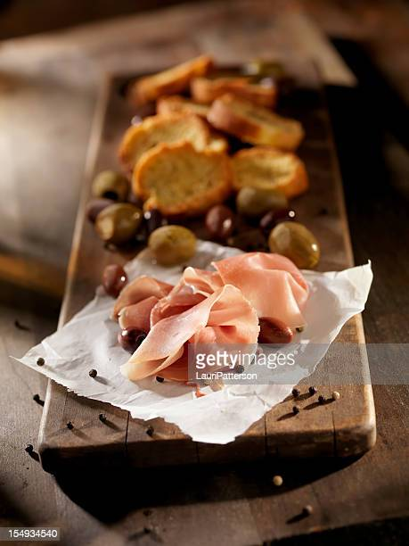 sliced prosciutto - baloney stock photos and pictures