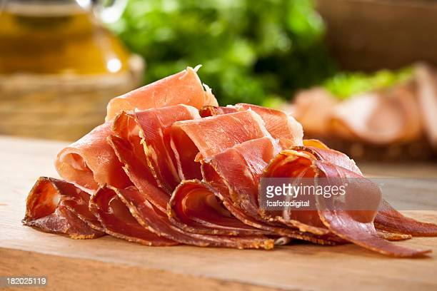 sliced prosciutto - delicatessen stock pictures, royalty-free photos & images