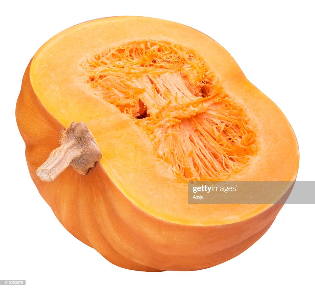Sliced pumpkin isolated clipping path : Stock Photo