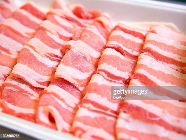 Sliced raw pork belly meat