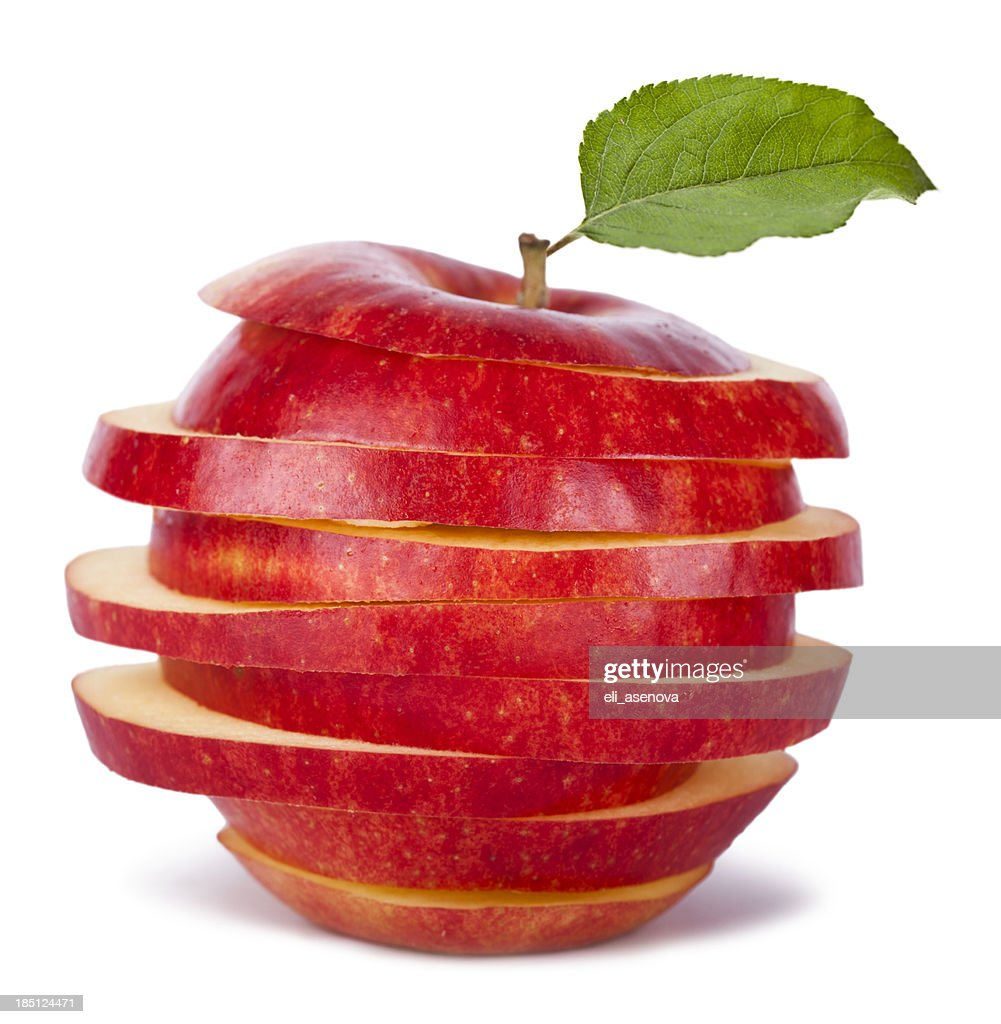 Sliced Red Apple and Leaf : Stock Photo